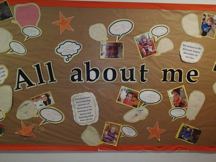 "Display ""all About Me"" children sharing how they see themselves and each other. All their own work and speech bubbles with their own words too.  EYFS"