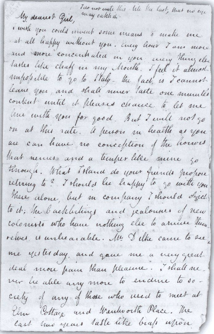 Letter from John Keats to his betrothed Fanny Brawne