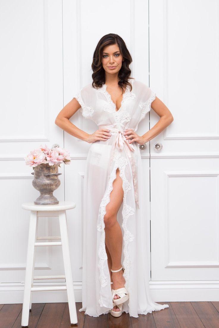 lace bridal robe, bridal robe, homebodii, silk bridal robe
