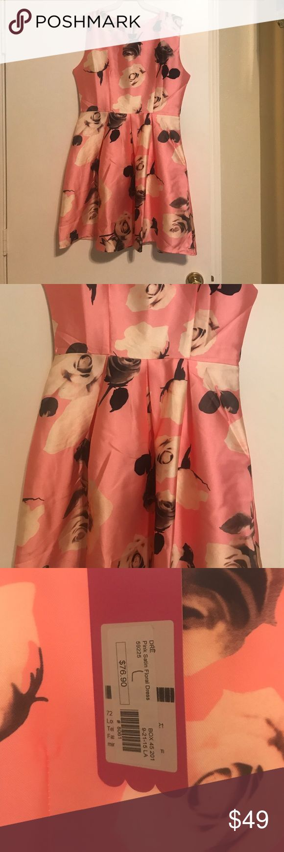 Pink Satin Floral Dress - Wow - Large Pink satin Floral dress mid length . Looks and feels awesome! Perfect for a night out Dresses Midi