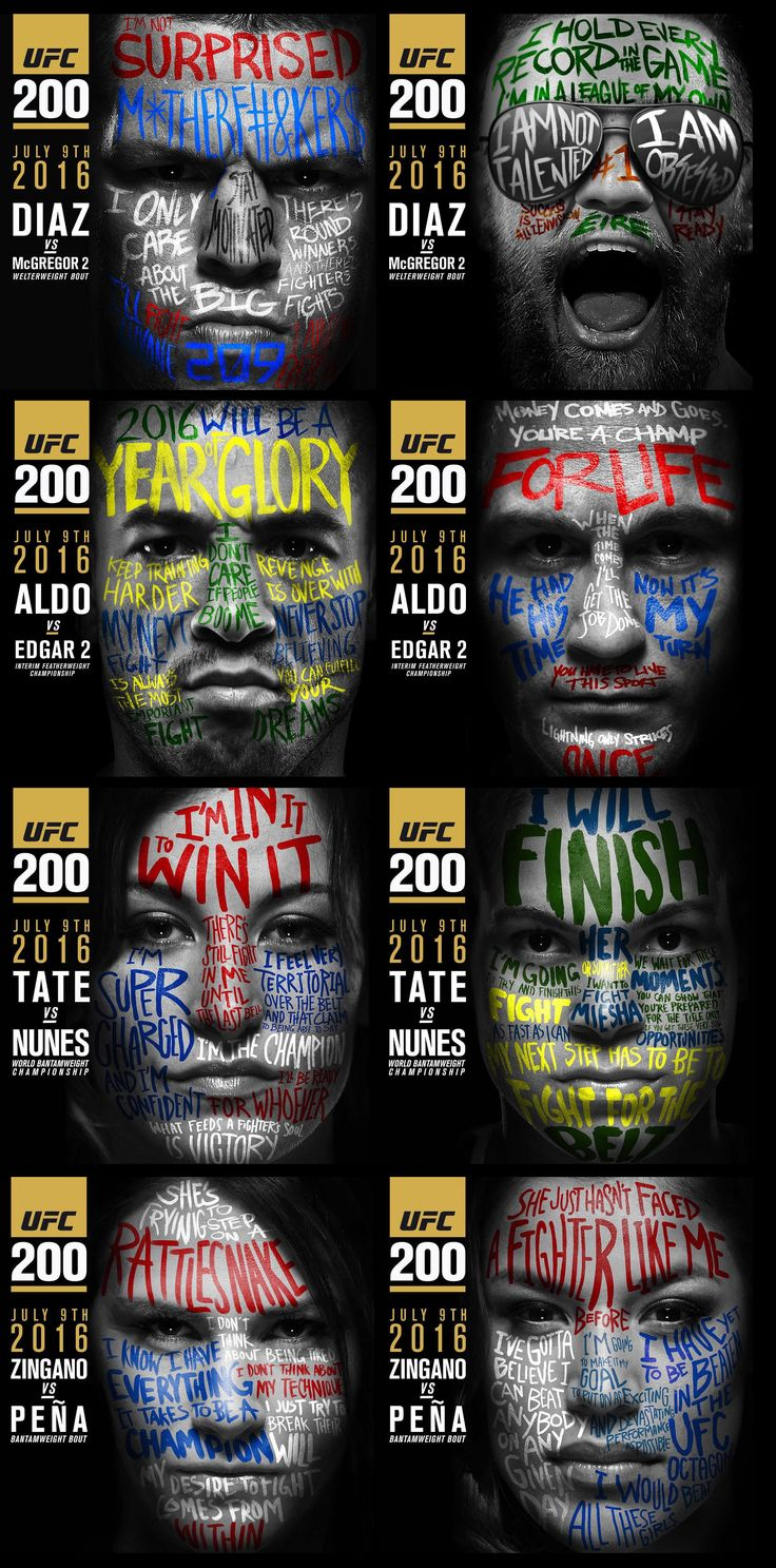 Nate Diaz vs Conor McGregor / Jose Aldo vs Frankie Edgar / Miesha Tate vs Amanda Nunez / Cat Zingano vs. Julianna Pena  #UFC200 fight poster : if you love #MMA, you'll love the #UFC & #MixedMartialArts inspired fashion at CageCult: http://cagecult.com/mma