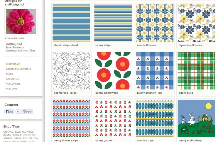 My shop on Spoonflower! I have two collections available, Bunny Fun and Atomic Flowers. More coming soon!