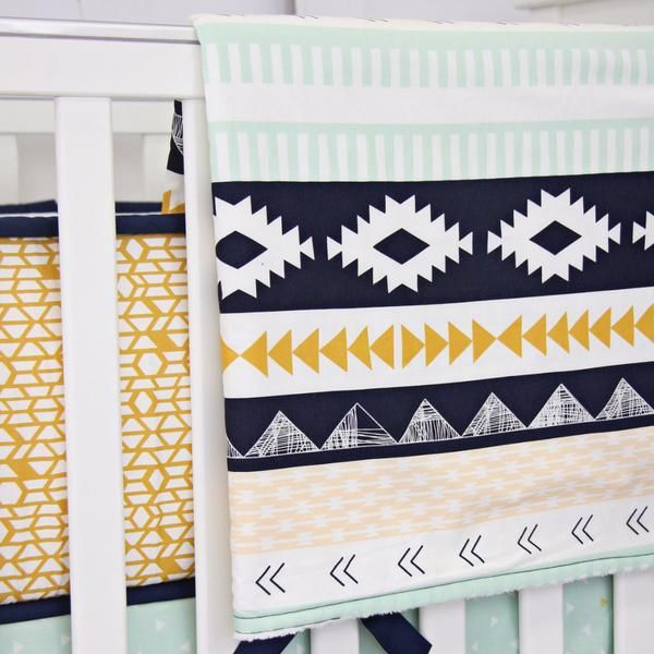 Our Aztec Gold & Mint Bumperless Crib Bedding adds the perfect touch for your inspired tribal nursery! Navy & mint are right on trend with this collection.