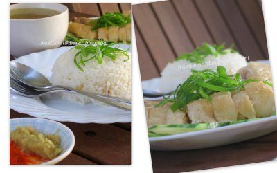 Nasi Lemak Lover: Hainanese Chicken Rice - This is incredibly easy! It just looks like a lot of work because there are several steps. Best advice is to start this the night before, so it goes faster! I also added some shallots and a lot of garlic to my boiling water. When the chicken was done, I cut the spine and wings off and returned them to the stock to enrich the broth. Super easy and delicious meal. To make sure your broth is clear, skim the foam off the top as it is boiling.