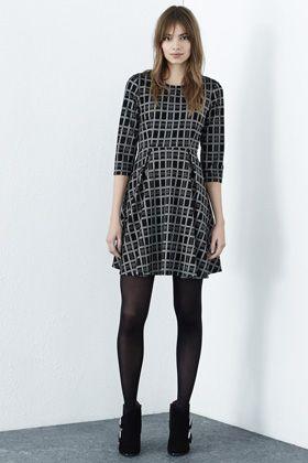 Dresses | Black CHECKED SKATER DRESS | Warehouse
