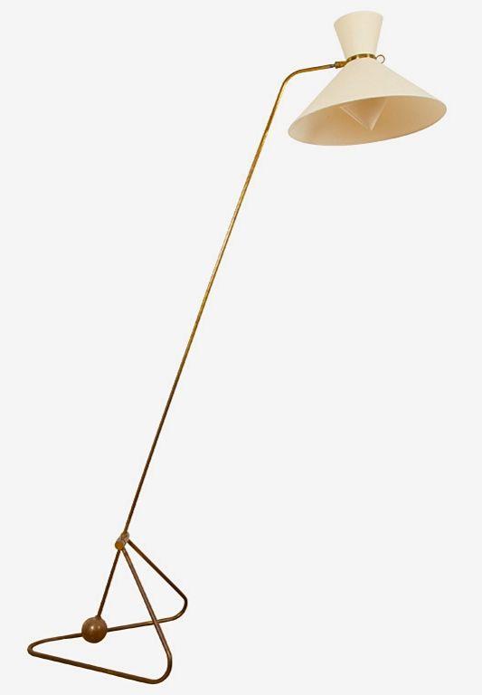 Robert Mathieu; Brass and Enameled Metal Floor Lamp, 1952.