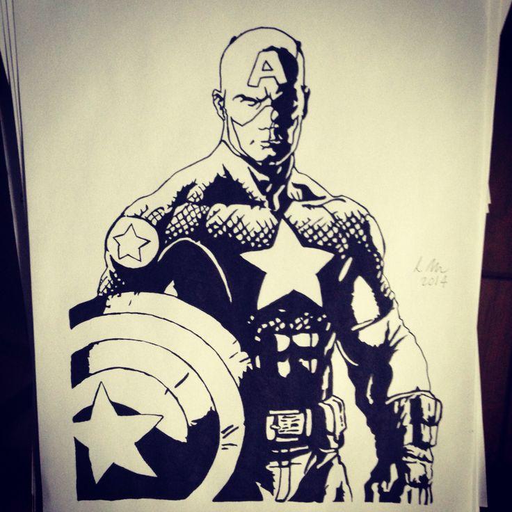 Captain America, Black fineliner, A4