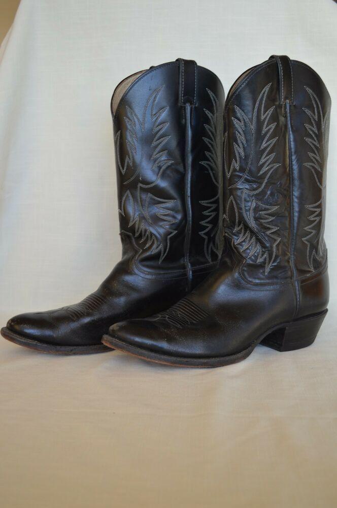 Vintage Justin Cowboy Boots Style 2041 Black Western Leather Men S
