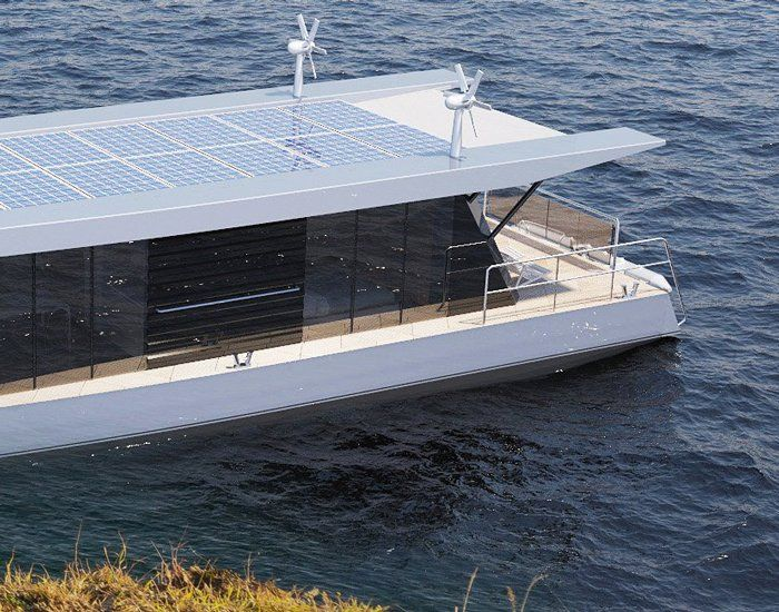 Max Zhivov Integrates Solar Panels And Wind Turbines In Traveling Houseboat Design Best Solar Panels Solar Panels House Boat