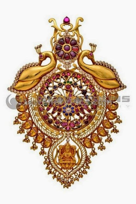 Designer antique locket in gold - Latest Jewellery Designs