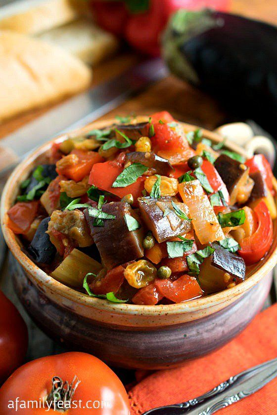 #Caponata - A super flavorful and delicious Sicilian vegetable dish that is fantastic served hot or cold. Delicious spread on bread or as a side dish. (Substitute two teaspoons of raw honey for the sugar if you want.)