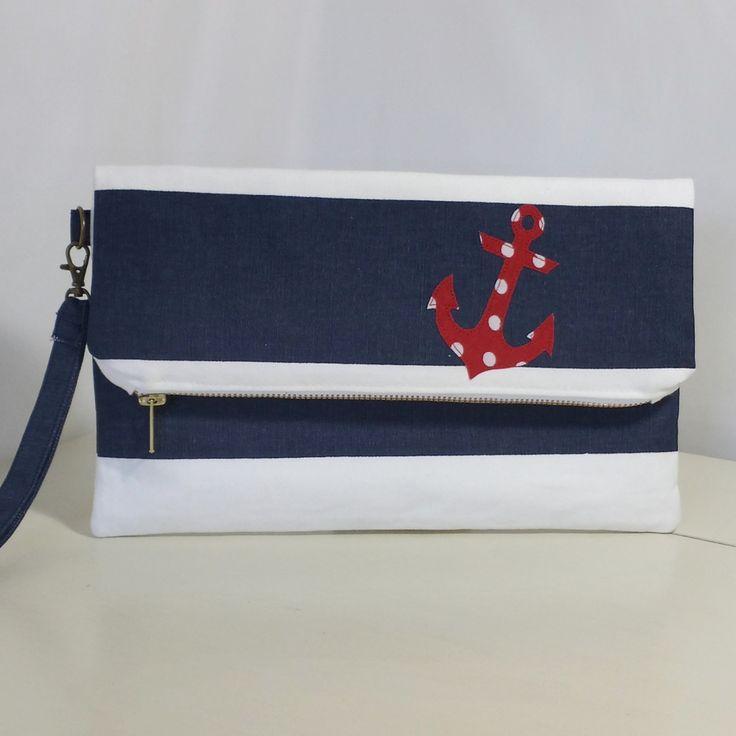 Fold Over Clutch | Nautical | Clutch Bag | Purse | Handbag | Wristlet | Foldover | Anchor | Applique - pinned by pin4etsy.com