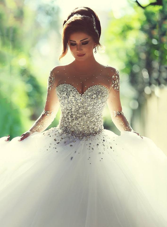 Buy Charming BallGown Floor-Length Full-Sleeves Backless Tulle Beading Beach Wedding Dress Online, newbridalup.Com offer high quality fashionCharming BallGown Floor-Length Full-Sleeves Backless Tulle Beading Beach Wedding Dress,Price: US$261.69