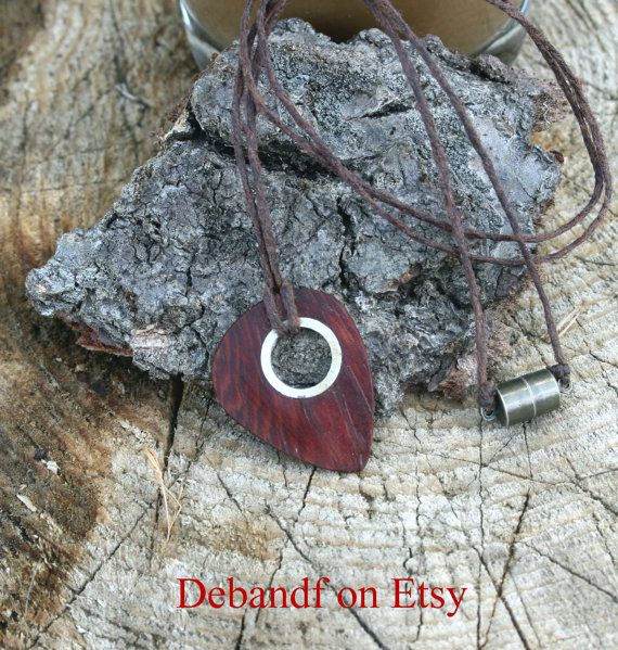Guitar pick Necklace  Guitar pick Jewelry Wood & by debandf