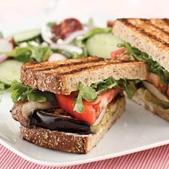 Vegan Grilled Eggplant & Portobello Sandwich Just sub veganaise for mayonnaise
