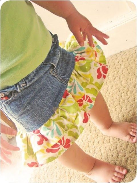 DIY directions to repurpose jeans that are too short, holey, or stained into adorable skirts.