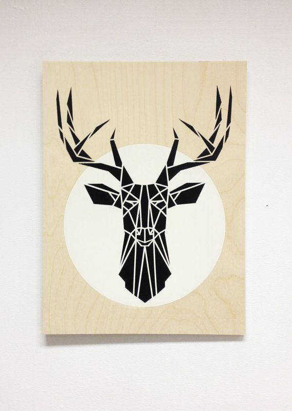 Large Minimalist Stag Head on wood panel, black and white cool decor, Dark Grey Deer white circle, Original Stencil Art on an Plywood Block. Great