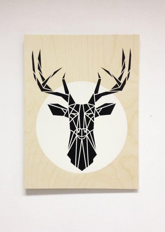 Grande tête de cerf minimaliste sur panneau de bois, noir et blanc cool décor, Dark Grey cerf blanc cercle, Art pochoir Original sur un bloc de