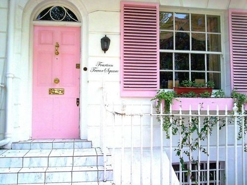 pinkSweets Home, Dreams Home, Pink House, Windows Boxes, Future Husband, Front Doors, Curb Appeal, Shutters, Pink Doors