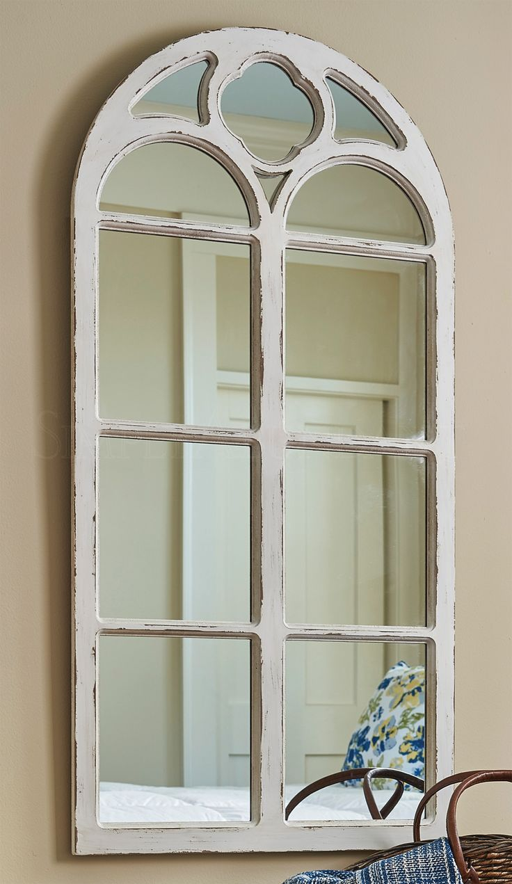 49 best clocks mirrors wall decor images on pinterest shabby chic distressed white solid wood window mirror with curved top 4725 h amipublicfo Image collections