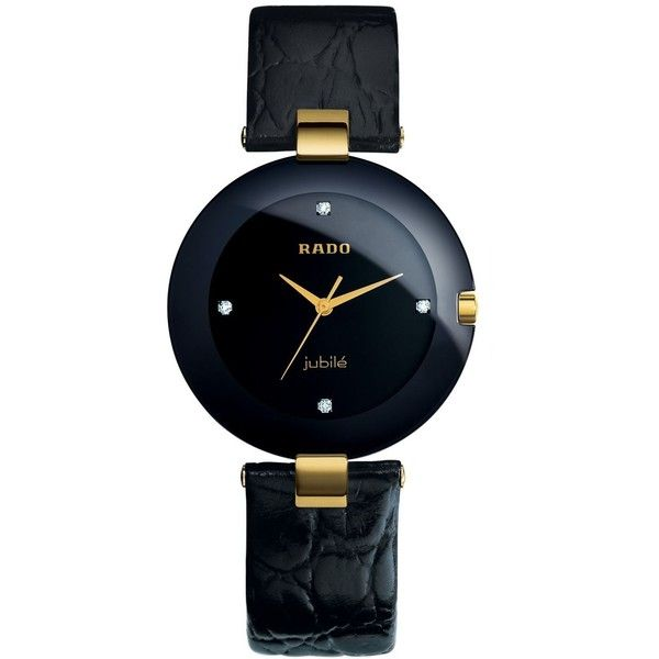 This Coupole watch from Rado exudes modern grace with contrasting tones. Black leather strap. Round 18k gold-plated stainless steel case, 35mm, black bezel. Bl…