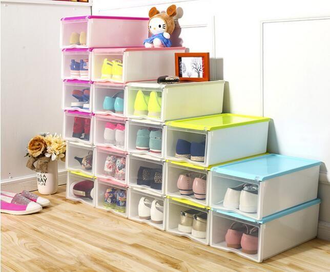 30 pçs/lote moda Multifuncional Dobrável Forte caixa De Sapatos de Plástico Caixa de Armazenamento Organizador Gavetas Organizador Empilhável em Ciaxas de armazenamento & lixo de Home & Garden no AliExpress.com | Alibaba Group
