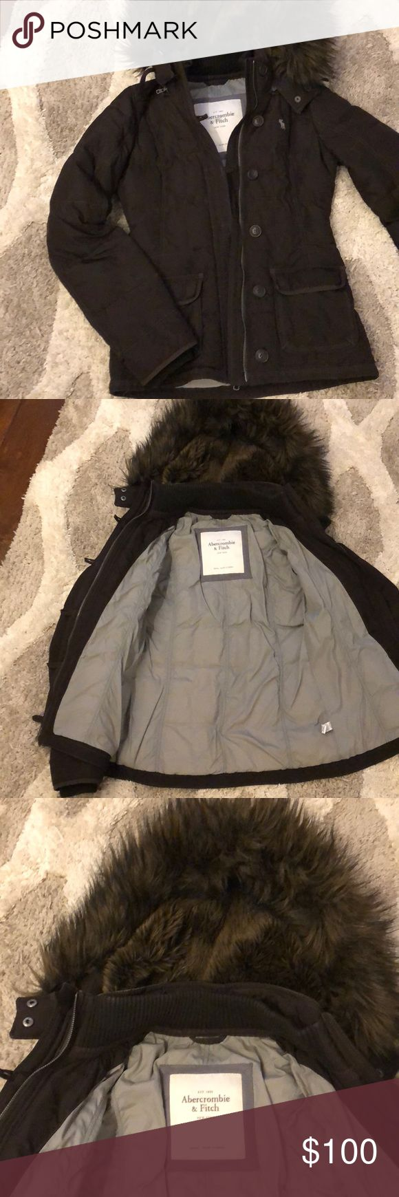 Abercrombie and Fitch coat Brown Abercrombie and Fitch puffer coat. Size small with a faux fur lined detachable hood. It's gray on the inside. Looks perfect except a couple of loose buttons. Super cute! Abercrombie & Fitch Jackets & Coats Puffers