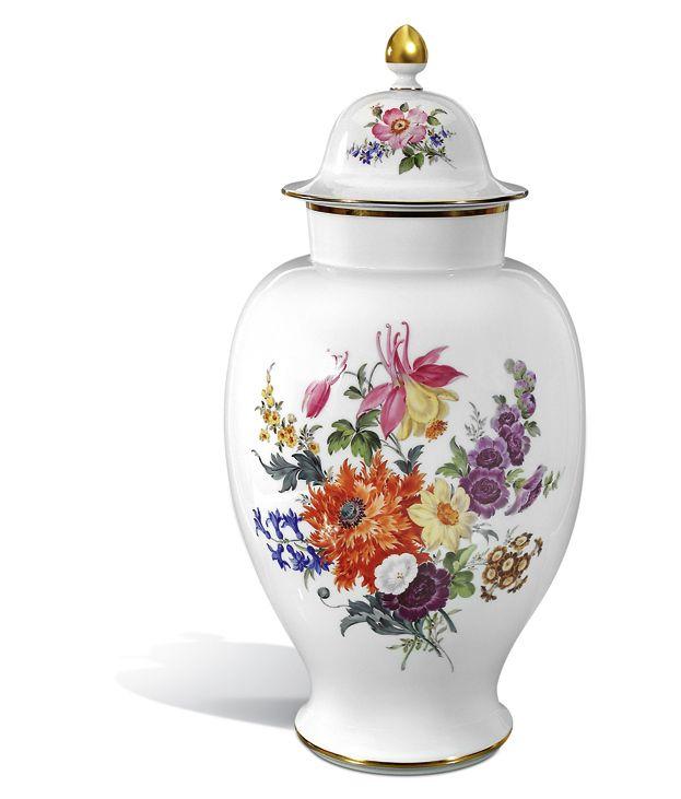 "Deckelvase ""Blumenbukett"", H 63 cm"
