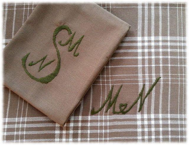 Kökshanddukar med monogram till styvsysters bröllopsgåva. #plattsöm #kökshandduk