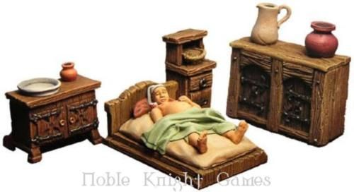 Fenryll fantasy mini resin 28mm medieval bedroom for P a furniture kirkby