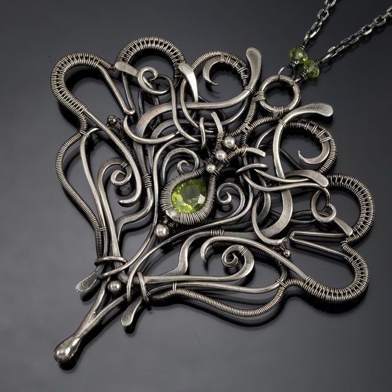 Peridot Necklace Fine silver Jewelry Sterling by sarahndippity
