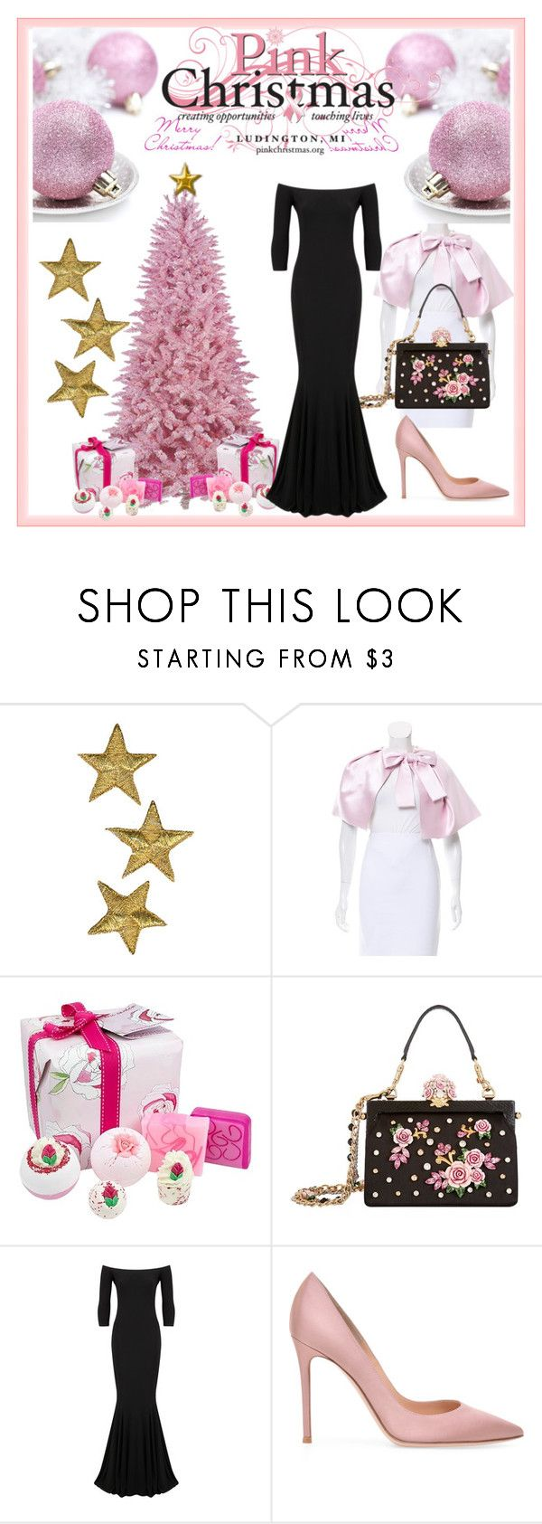 """""""Pink Christmas"""" by modestyqueen ❤ liked on Polyvore featuring Christian Dior, Bomb Cosmetics, Dolce&Gabbana and KamaliKulture"""