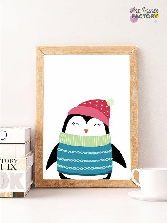 SALE, penguin nursery print bird cute penguin gift penguin illustrationprint nursery penguin print art wall penguin winter print nursery by ArtPrintsFactory on Etsy