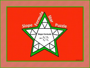 """This star shaped cut-and-paste puzzle is a great way to give traditional practice a more creative twist!  Students will use the slope formula to calculate the slope of a line given two points. Twenty problems are incorporated into the puzzle. The pieces are a bit smaller than in most puzzles of this type so that the completed star will fit on an 8 1/2"""" by 11"""" piece of paper."""