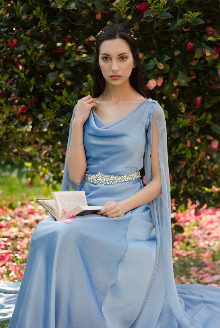 blue elven dress