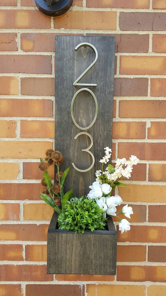 Rustic Address Planter, Address Sign, House Numbers Sign