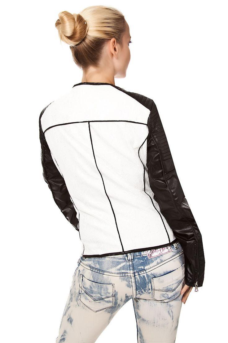 #Kunstlederjacke mit Spitze ohne Kragen