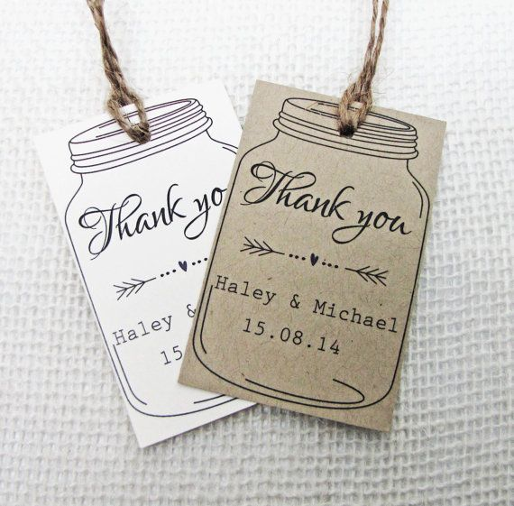 Wedding Favor Tags For Mason Jars : Favor Tag, Wedding Tag, Mason Jar Wedding Favor Gift Tag