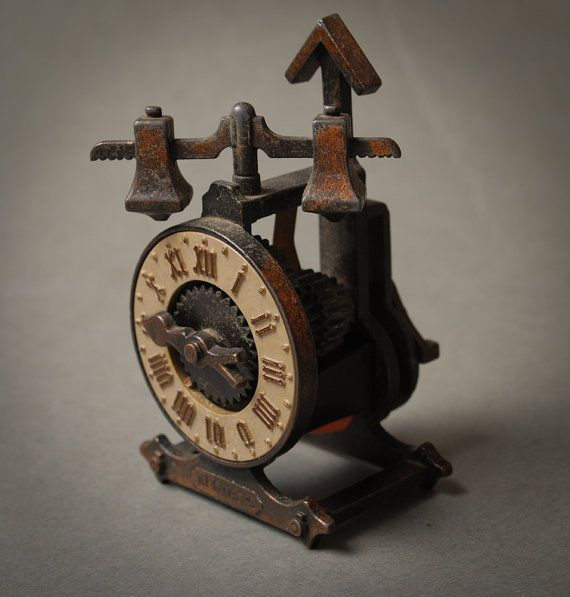 Vintage metal pencil sharpener Old clock style by Alchemyshop