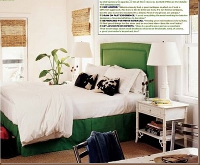 green upholstered bed 1
