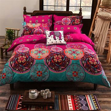 4Pcs Oriental Mandala Polyester Single Double Queen Size Bedding Pillowcases Quilt Duvet Cover Set - Newchic Mobile.