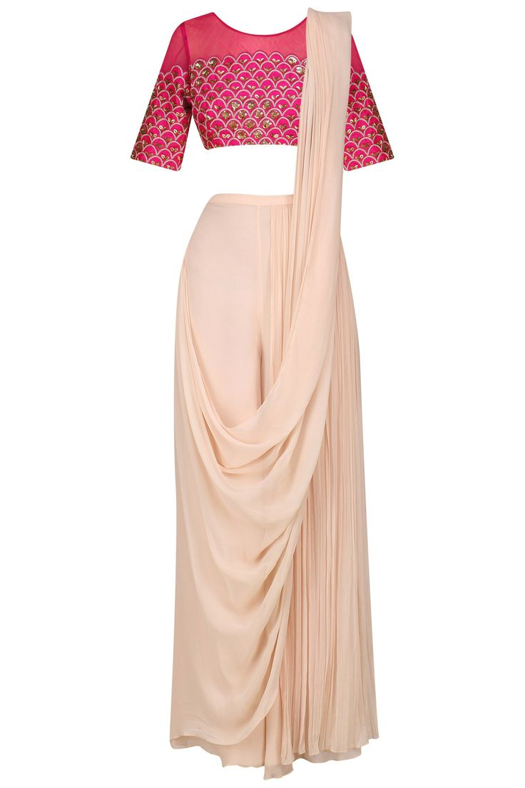 Fuschia pink embroidered blouse and pant saree set available only at Pernia's Pop Up Shop.