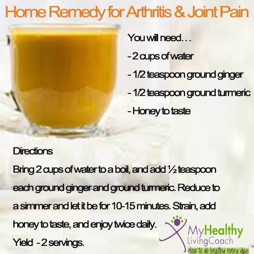 A home remedy for arthritis and joint pains. Turmeric Ginger Tea. More health tips here : www.myhealthylivingcoach.com