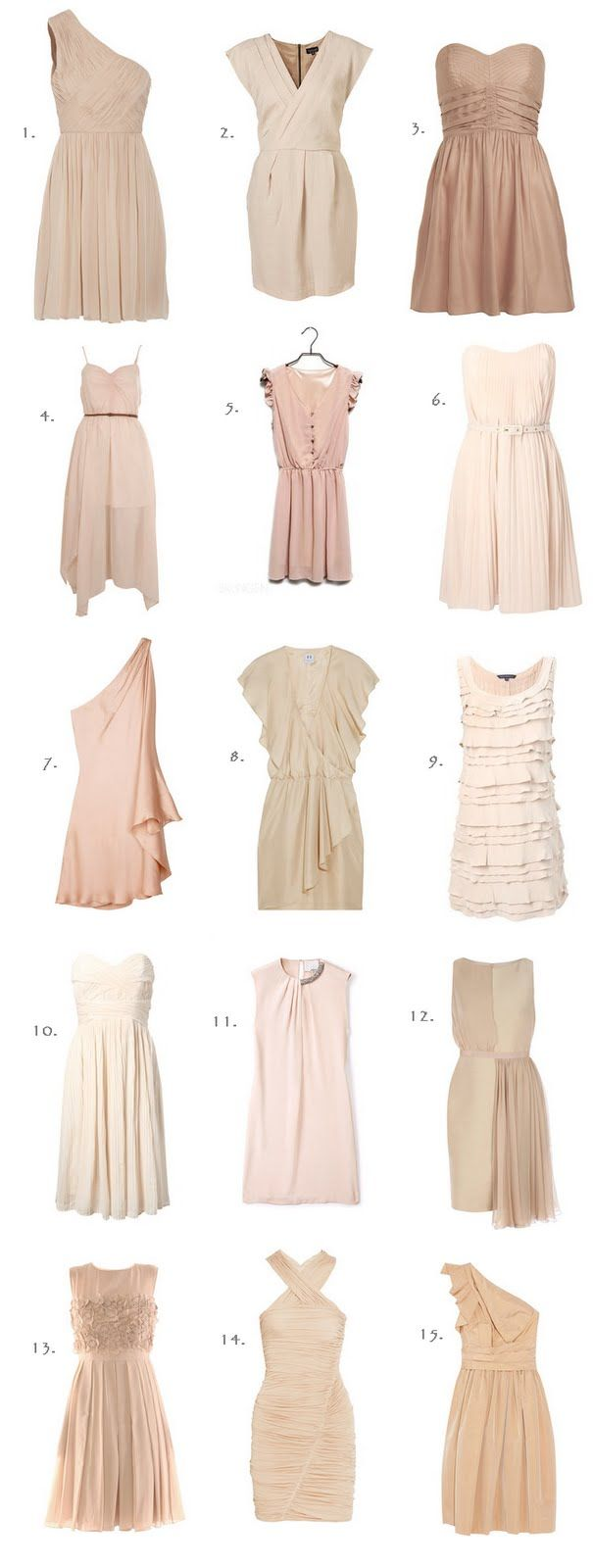 here's an example of how blush bridesmaids dresses can compliment each other, regardless of style