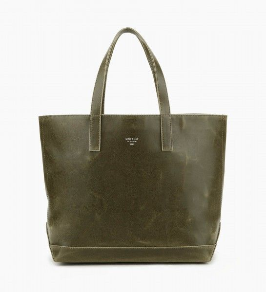 """Matt & Natt Kale Schlepp Tote Bag  Ignore the rubbish name that M&N have given this bag - it's a great sized, classic tote handbag in a gorgeous kale green. Features include a magnetic snap closure and a large interior zippered pocket. The handle drop is 8.5"""".  Dimensions: 19"""" X 13"""" X 6.5"""""""