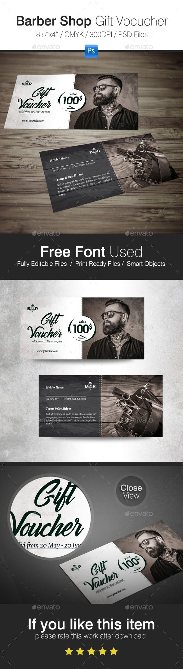 Barber Shop #Gift #Voucher - Cards & #Invites Print Templates