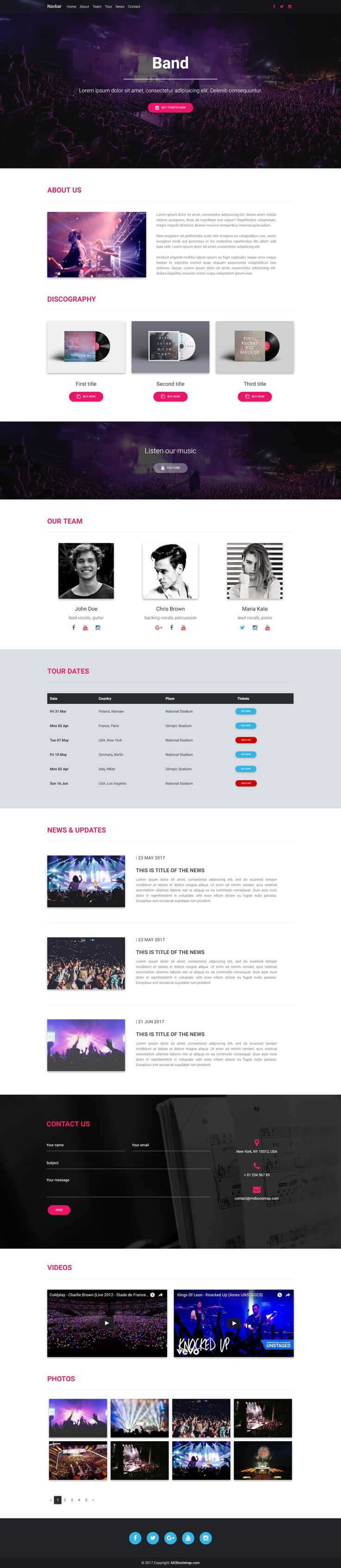 Fully responsive Band Landing Page Template, created with Material Design for Bootstrap