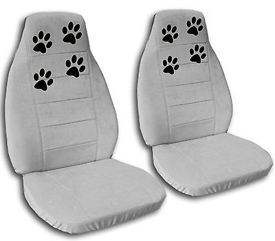 2 GORGEOUS PAW PRINTS CAR SEAT COVERS SILVER COOL