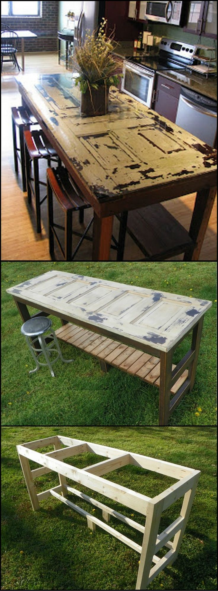 Outdoor table top ideas - How To Build A Kitchen Island From An Old Door Http Theownerbuildernetwork