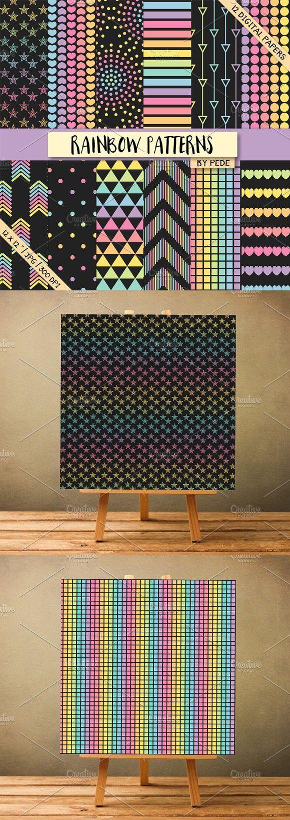 Rainbow patterns on black background. Patterns
